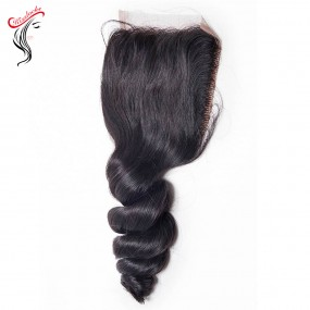 Fast Shipping Raw Virgin Hair Loose Wave wavy Lace Top Closure 4x4 Free parting Filipino Indian Malaysian hair types