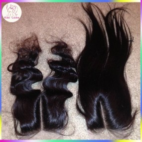 Best Quality Virgin Laotian Straight Hair Lace Closure Unprocessed Raw Hair Free part,middle part,side part In stock