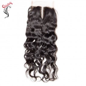 Keep Natural Decent Water Wave Natural Curls Virgin Raw Hair Lace Closure Free Part Matching Types Mongolian,Indian,Peruvian