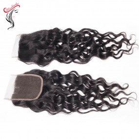 Kiss Locks Raw unprocessed water wave hair Lace Top Closure 4x4 Virgin Peruvian Mongolian Hair Types Cuticles aligned Free parting