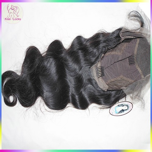 Easy Install Beautiful Women Pieces Cambodian Human Virgin Hair Wavy Lace Front Wig Average cap size Grade 10A