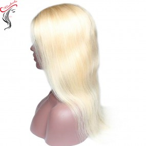 Ponytail 360 lace frontal wig Indian Womean Hair Blonde #613 transparent lace color Pre-plucked 10-28 inches Small Heads
