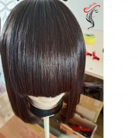 """Raw Laotian Straight Body Wave deep wave curly Bob Machine wig with bang 8"""" 10"""" 12"""" shorter lengths affordable price"""