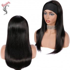 180% Density(use 3 bundles) Headband Wig Raw Hair Quality straight wavy curly different textures Pre-Attached Machine Made Glueless Wigs