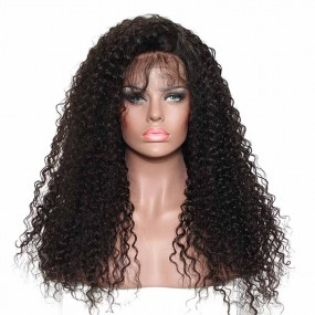 Best Peruvian deep curly Full lace wig hand tied Can by parted Natural Hair Line 150% heavier density 12-26 inches Stocked